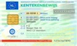 Voorbeeld kentekencard